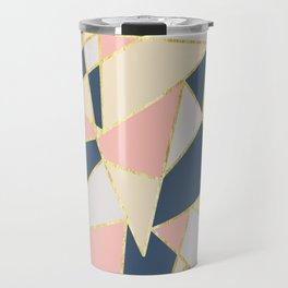 Girly Geometric Triangles with Faux Gold Travel Mug