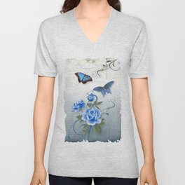 Blue Rose Unisex V-Neck