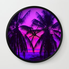 Pink Palm Trees by the Indian Ocean Wall Clock