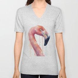 Watercolor Pink Flamingo Illustration | Facing Right Unisex V-Neck