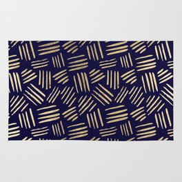 Chic navy blue faux gold abstract brushstrokes Rug