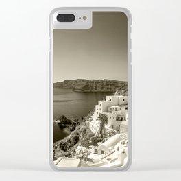 Santorini Seascape in sepia Clear iPhone Case