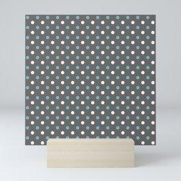Grey white blue polka dot pattern Mini Art Print