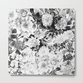 Black gray modern watercolor roses floral pattern Metal Print