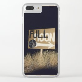 full moon sign w sunset Clear iPhone Case