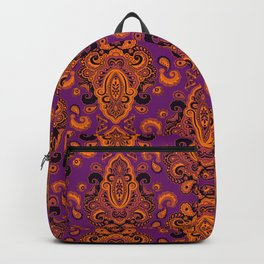 Golden Paisley Purple Backpack