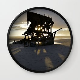 Wreck of the Peter Iredale at sunset Wall Clock