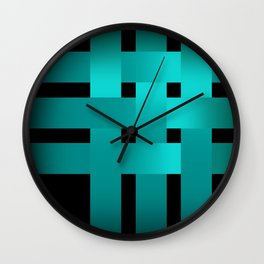 Abstraction .Weave turquoise satin ribbons . Patchwork . Wall Clock