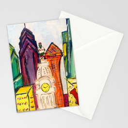 Philadelphia Skyline with Sports Teams: LOVE Statue, Phillie Phanatic, and Eagles Stationery Cards