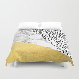 Carina - gold black and white with marble abstract painting minimalist decor dorm college nursery Duvet Cover