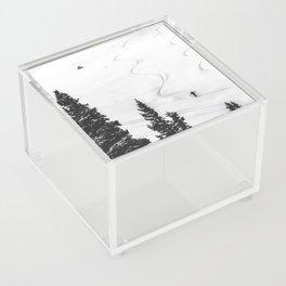 Backcountry Skier // Fresh Powder Snow Mountain Ski Landscape Black and White Photography Vibes Acrylic Box