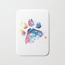 Dog Paw - Watercolor Painting - Pet Art Bath Mat