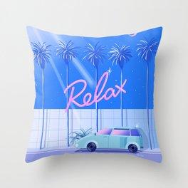 Relax (Blue) Throw Pillow
