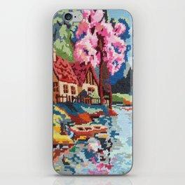 Cross stitch River iPhone Skin