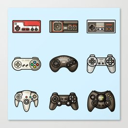 Retro Game Controllers Light Blue Canvas Print