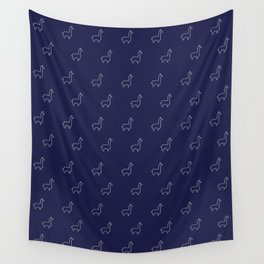 Baesic Llama Pattern (Navy Blue) Wall Tapestry