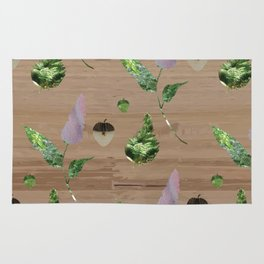 Floral Pattern on Wooden Table Rug