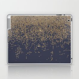 Navy Blue Gold Sparkly Glitter Ombre Laptop & iPad Skin