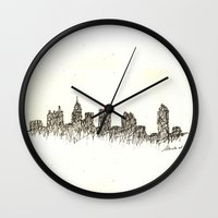 atlanta Wall Clocks featuring Atlanta Skyline by Nathasa Rae