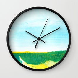 Distant forest abstract landscape Wall Clock