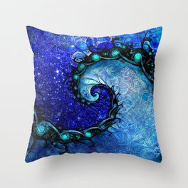 Beautiful Blue Nocturne of Scorpio Sapphire Spiral Throw Pillow