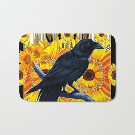 GRAPHIC BLACK CROW & YELLOW SUNFLOWERS ABSTRACT Bath Mat