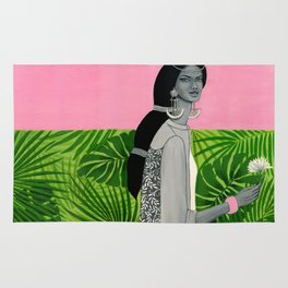 girl with a flower Rug