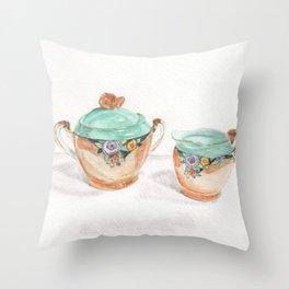 Sugar and Creamer Throw Pillow