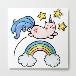 Unicorn Cat Metal Print