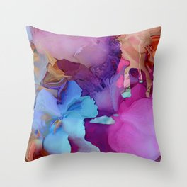 Alcohol Ink Flowers Throw Pillow