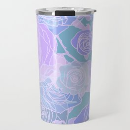 Preppy Purple and Seafoam Green Abstract Contemporary Romantic Roses Travel Mug
