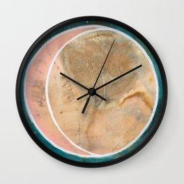Pink Eco Print Moon Wall Clock