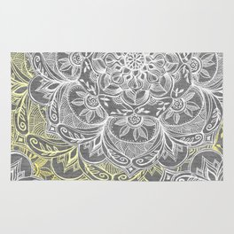 Yellow & White Mandalas on Grey Rug