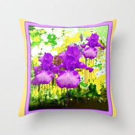Fuchsia-White bearded Iris Yellow Color Abstract Throw Pillow