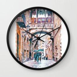 Carrer del Bisbe - Barcelona Wall Clock