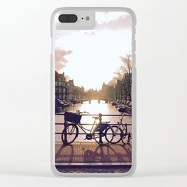 Bicycle Through Amsterdam Clear iPhone Case