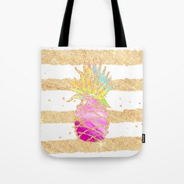 Modern pink watercolor pineapple faux gold glitter stripes Tote Bag