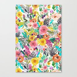 Vibrant Autumn Floral with Turquoise Canvas Print