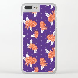 Floral clemson sports college football university varsity team alumni fan gifts purple and orange Clear iPhone Case