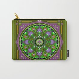Boho Floral Crest Olive Carry-All Pouch