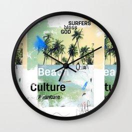 Beach culture avanture God bless surfers Wall Clock