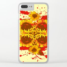 CAUTION: DANGEROUS SUNFLOWERS YELLOW-RED ART Clear iPhone Case