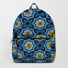 V6 Blue Traditional Moroccan Natural Leather - A4 Backpack