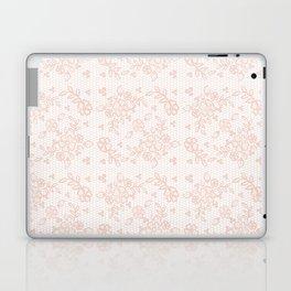 Elegant pink white pastel color chic floral lace Laptop & iPad Skin