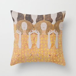 Gustav Klimt - Choir of Angels (Chor Der Paradiesengel) Throw Pillow