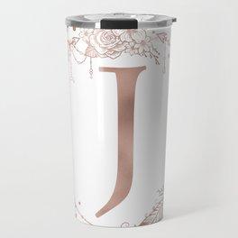 Letter J Rose Gold Pink Initial Monogram Travel Mug