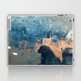 Wander [2]: a vibrant, colorful, abstract in blues, pink, white, and gold Laptop & iPad Skin