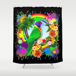 Rainbow Lorikeet Parrot Art Shower Curtain