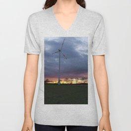 Sun Setting Over the Windmill Unisex V-Neck