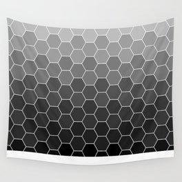 hexagon black Wall Tapestry